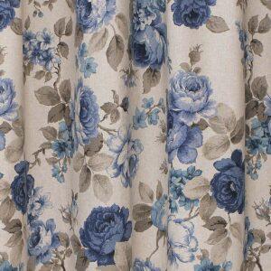 Κουρτίνα Λονέτα Roses μπλε με τρουκ