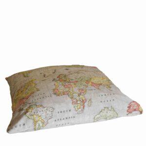 Μαξιλάρι δαπέδου 85x85 Worldmap μπεζ