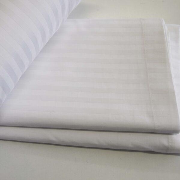Σεντόνι διπλό λευκό Satin stripe