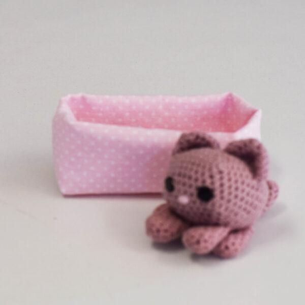 Πλεκτό Ζωάκι με φωλίτσα γατάκι ροζ