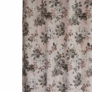 Κουρτίνα Λονέτα Roses γκρι 140χ270 με τρέσα