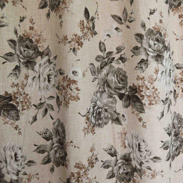 Κουρτίνα Λονέτα Roses γκρι 140χ260 με τρουκ