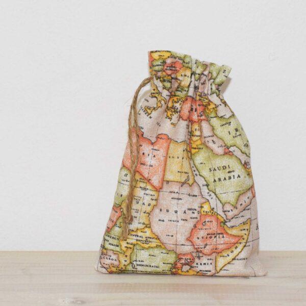 Υφασμάτινο πουγκί worldmap μπεζ