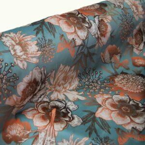 Ύφασμα Βελούδο Floral Sparrow βεραμάν Φ140
