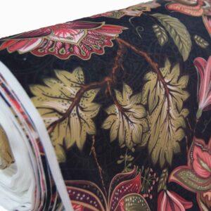 Ύφασμα Βελούδο Night Flower κόκκινο Φ140